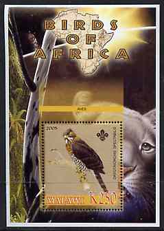 Malawi 2005 Birds of Africa - Serpent Eagle perf m/sheet with Scout Logo and Lion in background, unmounted mint