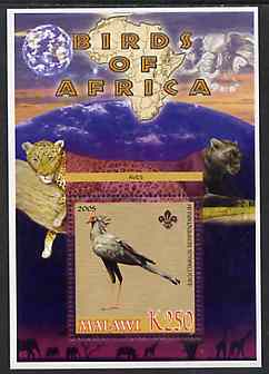 Malawi 2005 Birds of Africa - Secretary Bird perf m/sheet with Scout Logo and Big cats & Elephant in background, unmounted mint
