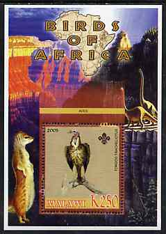 Malawi 2005 Birds of Africa - Vulture perf m/sheet with Scout Logo and Dinosaurs in background, unmounted mint