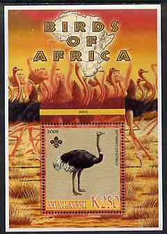 Malawi 2005 Birds of Africa - Ostrich perf m/sheet with Scout Logo, unmounted mint