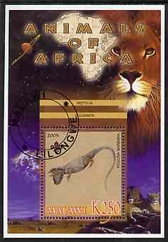 Malawi 2005 Animals of Africa - Bearded Dragon perf m/sheet with Scout Logo & Lions in background, fine cto used