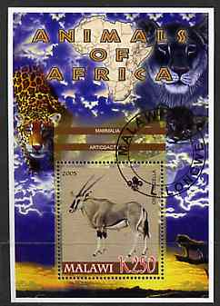 Malawi 2005 Animals of Africa - Gazelle perf m/sheet with Scout Logo & Lions in background, fine cto used