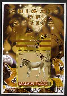 Malawi 2005 Animals of Africa - Horse perf m/sheet with Scout Logo & Lions in background, fine cto used