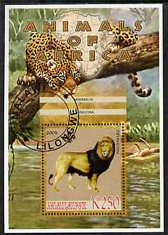 Malawi 2005 Animals of Africa - Lion perf m/sheet with Scout Logo, other big cats in background, fine cto used