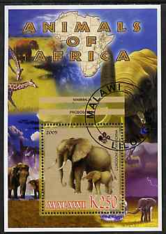 Malawi 2005 Animals of Africa - Elephants perf m/sheet with Scout Logo and Giraffe in background, fine cto used