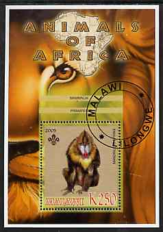Malawi 2005 Animals of Africa - Mandrill perf m/sheet with Scout Logo, fine cto used