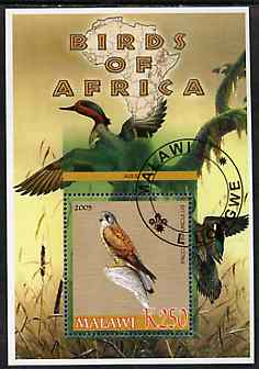 Malawi 2005 Birds of Africa - Kestrel perf m/sheet with Scout Logo and Ducks in background, fine cto used