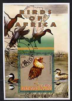 Malawi 2005 Birds of Africa - Ruff perf m/sheet with Scout Logo and Ducks in background, fine cto used