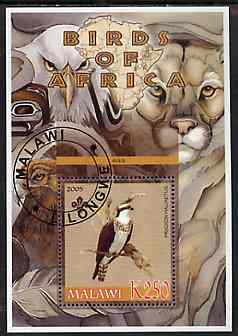 Malawi 2005 Birds of Africa - Osprey perf m/sheet with Scout Logo and Lion in background, fine cto used
