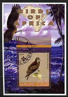 Malawi 2005 Birds of Africa - Eagle perf m/sheet with Scout Logo, fine cto used