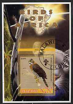 Malawi 2005 Birds of Africa - Serpent Eagle perf m/sheet with Scout Logo and Lion in background, fine cto used