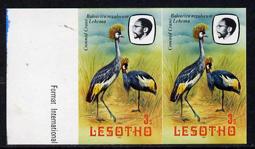 Lesotho 1982 Crowned Crane 3s def in unmounted mint imperf pair* (SG 502)