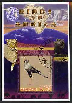 Malawi 2005 Birds of Africa - Secretary Bird perf m/sheet with Scout Logo and Big cats & Elephant in background, fine cto used