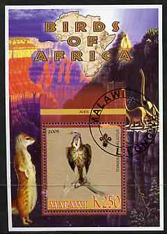 Malawi 2005 Birds of Africa - Vulture perf m/sheet with Scout Logo and Dinosaurs in background, fine cto used