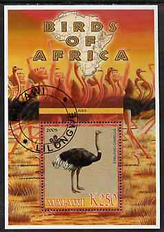 Malawi 2005 Birds of Africa - Ostrich perf m/sheet with Scout Logo, fine cto used