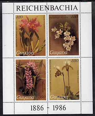 Guyana 1985-89 Orchids Series 2 Plate 46, 55, 57 & 81 (Sanders' Reichenbachia) perf m/sheet unmounted mint SG MS 2275b
