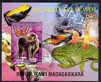 Madagascar 1999 Animals of the World #01 perf m/sheet showing Baboon, background shows Frog, Owl, Butterfly, Chameleon & Orchid, fine cto used