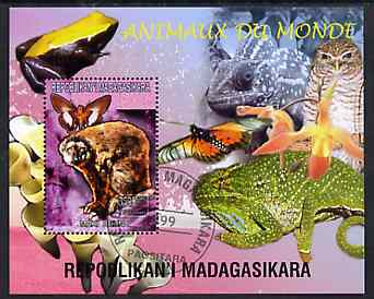 Madagascar 1999 Animals of the World #02 perf m/sheet showing Lemur #1, background shows Frog, Owl, Butterfly, Chameleon & Orchid, fine cto used