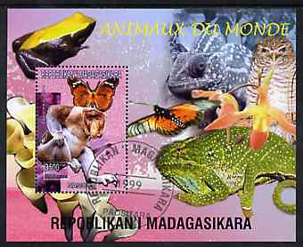 Madagascar 1999 Animals of the World #03 perf m/sheet showing Proboscis Monkey, background shows Frog, Owl, Butterfly, Chameleon & Orchid, fine cto used