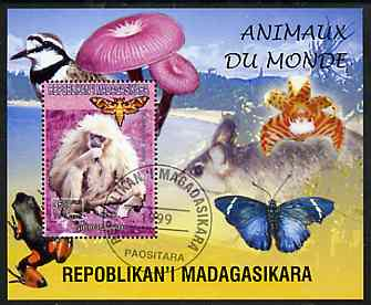 Madagascar 1999 Animals of the World #04 perf m/sheet showing Gibbon Monkey, background shows Frog, Bird, Butterfly, Fungi & Orchid, fine cto used