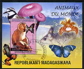 Madagascar 1999 Animals of the World #05 perf m/sheet showing Rhesus Macaque Monkey, background shows Frog, Bird, Butterfly, Fungi & Orchid, fine cto used