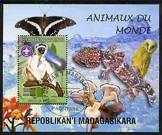 Madagascar 1999 Animals of the World #06 perf m/sheet showing Sifaka with Scout Logo, background shows Owl, Butterfly, Reptile, Fungi & Orchid, fine cto used