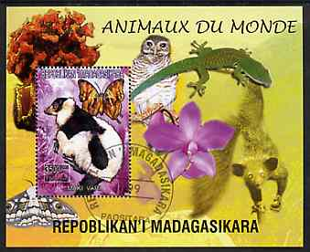 Madagascar 1999 Animals of the World #08 perf m/sheet showing Lemur #2, background shows Owl, Butterfly, Lizard & Orchid, fine cto used