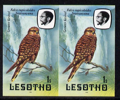 Lesotho 1982 Kestrel 1s def in unmounted mint imperf pair* (SG 500)