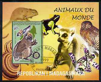 Madagascar 1999 Animals of the World #11 perf m/sheet showing Lemur #5 with Rotary Logo, background shows Owl, Fungi, Frog & Orchid, fine cto used