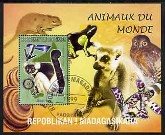 Madagascar 1999 Animals of the World #12 perf m/sheet showing Lemur #6 with Rotary Logo, background shows Owl, Fungi, Frog & Orchid, fine cto used