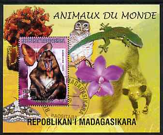 Madagascar 1999 Animals of the World #13 perf m/sheet showing Mandril Monkey, background shows Owl, Butterfly, Lizard & Orchid, fine cto used
