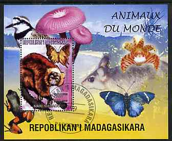 Madagascar 1999 Animals of the World #14 perf m/sheet showing Lemur #7, background shows Frog, Bird, Butterfly, Fungi & Orchid, fine cto used, stamps on flowers, stamps on orchids, stamps on animals, stamps on apes, stamps on frogs, stamps on fungi, stamps on butterflies, stamps on