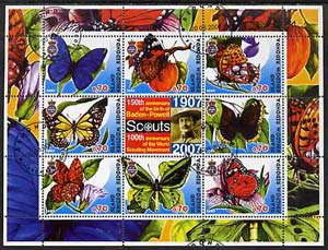 Antigua - Redonda 2005 Scout Anniversaries - Butterflies #01 perf sheetlet containing set of 8 values plus label cto used