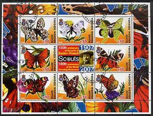 Antigua - Redonda 2005 Scout Anniversaries - Butterflies #02 perf sheetlet containing set of 8 values plus label cto used