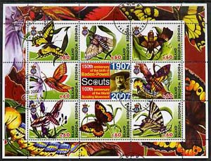 Antigua - Redonda 2005 Scout Anniversaries - Butterflies #03 perf sheetlet containing set of 8 values plus label cto used, stamps on scouts, stamps on butterflies