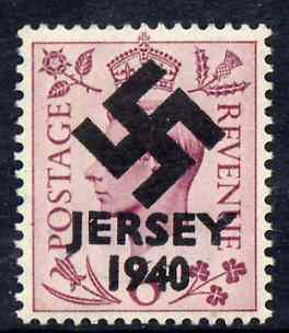 Jersey 1940 Swastika opt on Great Britain KG6 6d purple produced during the German Occupation but unissued due to local feelings. This is a copy of the overprint on a genuine stamp with forgery handstamped on the back, unmounted mint in presentation folder.