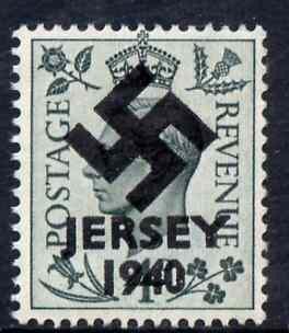 Jersey 1940 Swastika opt on Great Britain KG6 4d grey-green produced during the German Occupation but unissued due to local feelings. This is a copy of the overprint on a genuine stamp with forgery handstamped on the back, unmounted mint in presentation folder.