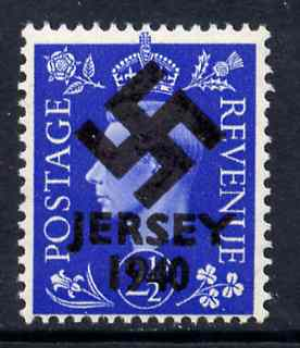Jersey 1940 Swastika opt on Great Britain KG6 2.5d ultramarine produced during the German Occupation but unissued due to local feelings. This is a copy of the overprint o...