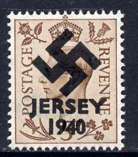 Jersey 1940 Swastika opt on Great Britain KG6 5d brown produced during the German Occupation but unissued due to local feelings. This is a copy of the overprint on a genuine stamp with forgery handstamped on the back, unmounted mint in presentation folder.