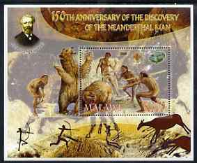 Malawi 2006 Discovery of Neanderthal Man perf souvenir sheet #3 with Scout Logo, Mineral & Jules Verne in background, unmounted mint