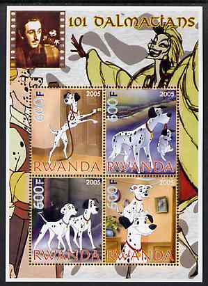Rwanda 2005 Disney's 101 Dalmations perf sheetlet containing 4 values unmounted mint