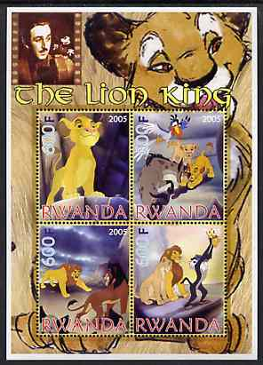 Rwanda 2005 Disney's The Lion King perf sheetlet containing 4 values unmounted mint