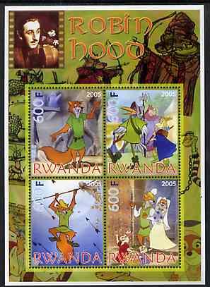 Rwanda 2005 Disney's Robin Hood perf sheetlet containing 4 values unmounted mint