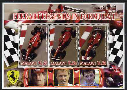 Malawi 2005 Ferrari Legends in Formula 1 #1 perf sheetlet containing 3 values unmounted mint