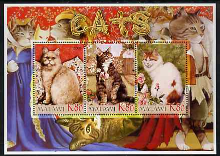 Malawi 2005 Domestic Cats perf sheetlet containing 3 values unmounted mint