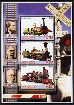 Malawi 2005 Railway Locomtives & Engineers perf sheetlet containing 3 values unmounted mint