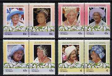 Tuvalu - Nukufetau 1985 Life & Times of HM Queen Mother (Leaders of the World) set of 8 values unmounted mint