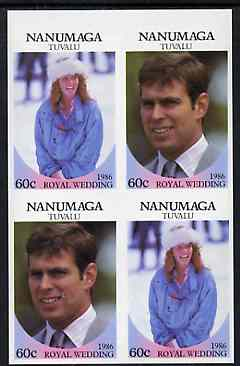 Tuvalu - Nanumaga 1986 Royal Wedding (Andrew & Fergie) 60c in unmounted mint imperf proof block of 4 (2 se-tenant pairs) without staple holes in margin and therefore not from booklets