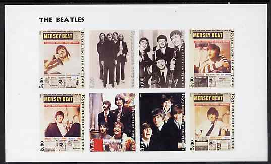 Kuril Islands 2001 The Beatles imperf sheetlet containing set of 8 values unmounted mint