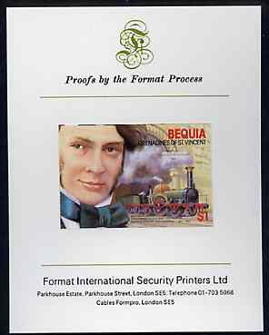 St Vincent - Bequia 1986 Locomotives & Engineers (Leaders of the World) $1.00 (Sir Daniel Gooch & Firefly) imperf proof mounted on Format International proof card